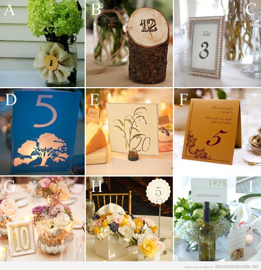 Ideas y detalles bonitos para indicar el número de la mesa en salones de boda