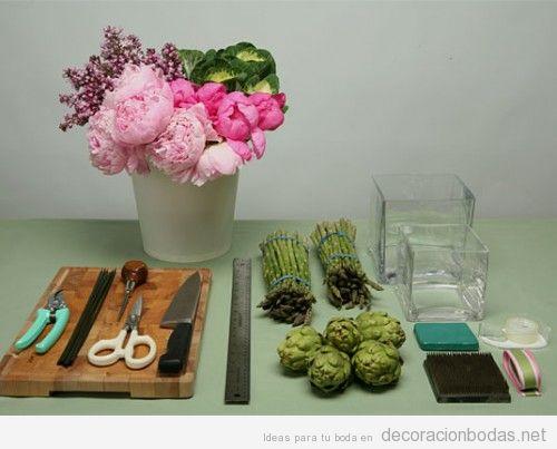 Manualidad, hazlo tú mismo, centro de mesa con flores para boda