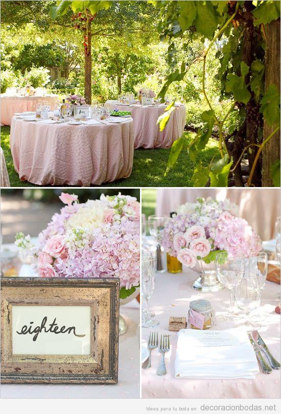 Decoraci n de boda en exteriores con tonos rosas - Decoracion de bodas en jardines ...