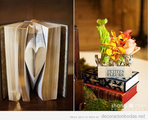 Centros de mesa con libros una decoraci n original for Libros de decoracion