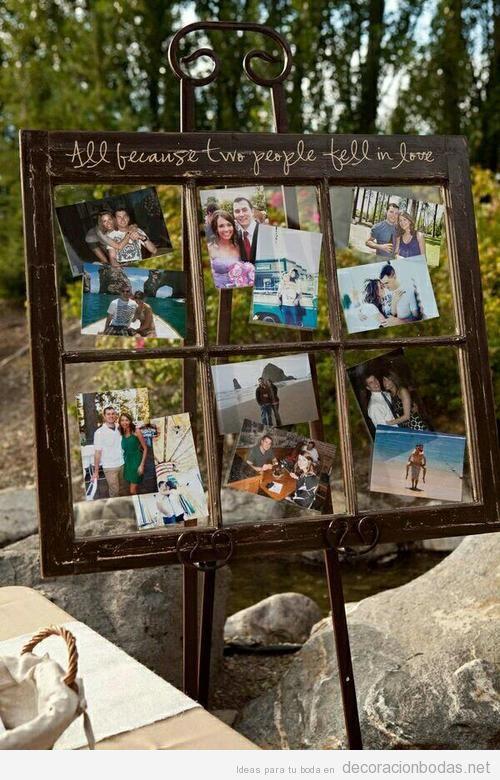 Decorar la boda con tavblerod e madera y fotos de los novios