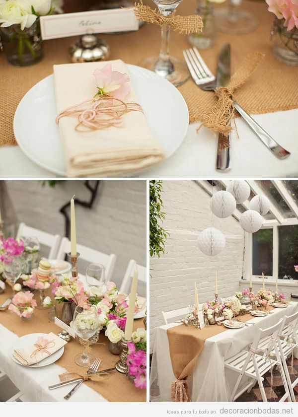 Decoraci n de mesa de boda con detalles en yute for Ideas y estilos deco