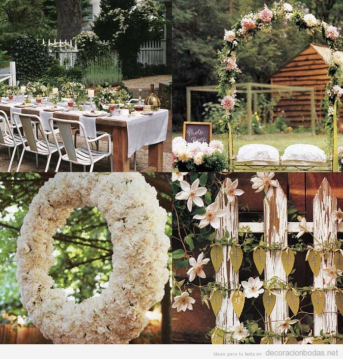 Ideas para decorar una boda en el jardn Decoracin bodas