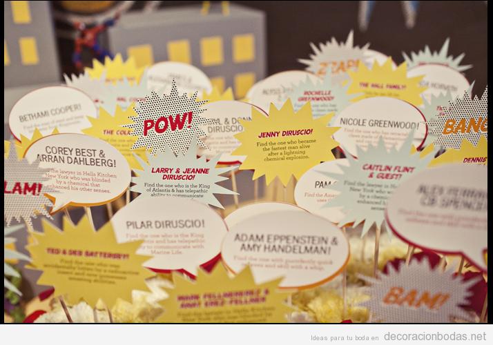 Tarjetas con nombres de invitados estilo vi eta de comic - Ideas super originales para bodas ...