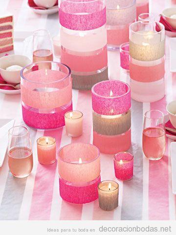 decoracin de mesa de boda con potavelas de color rosa