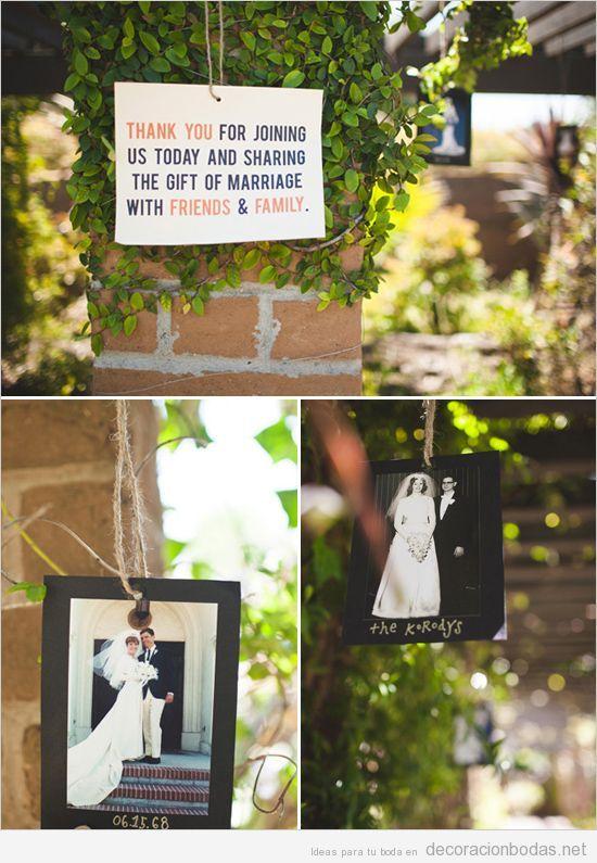 ideas originales para decorar una boda con fotos de la boda de los padres y abuelos