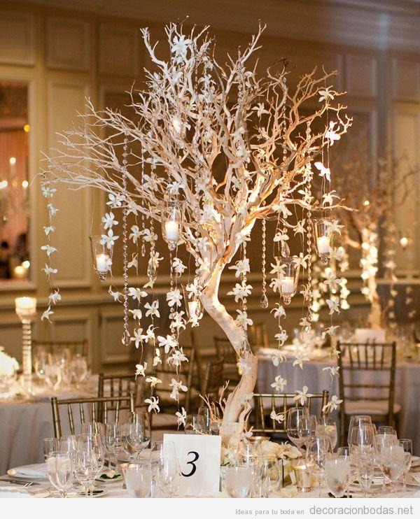 Centro de mesa con ramas de rbol decoraci n bodas - Ramas de arbol para decoracion ...
