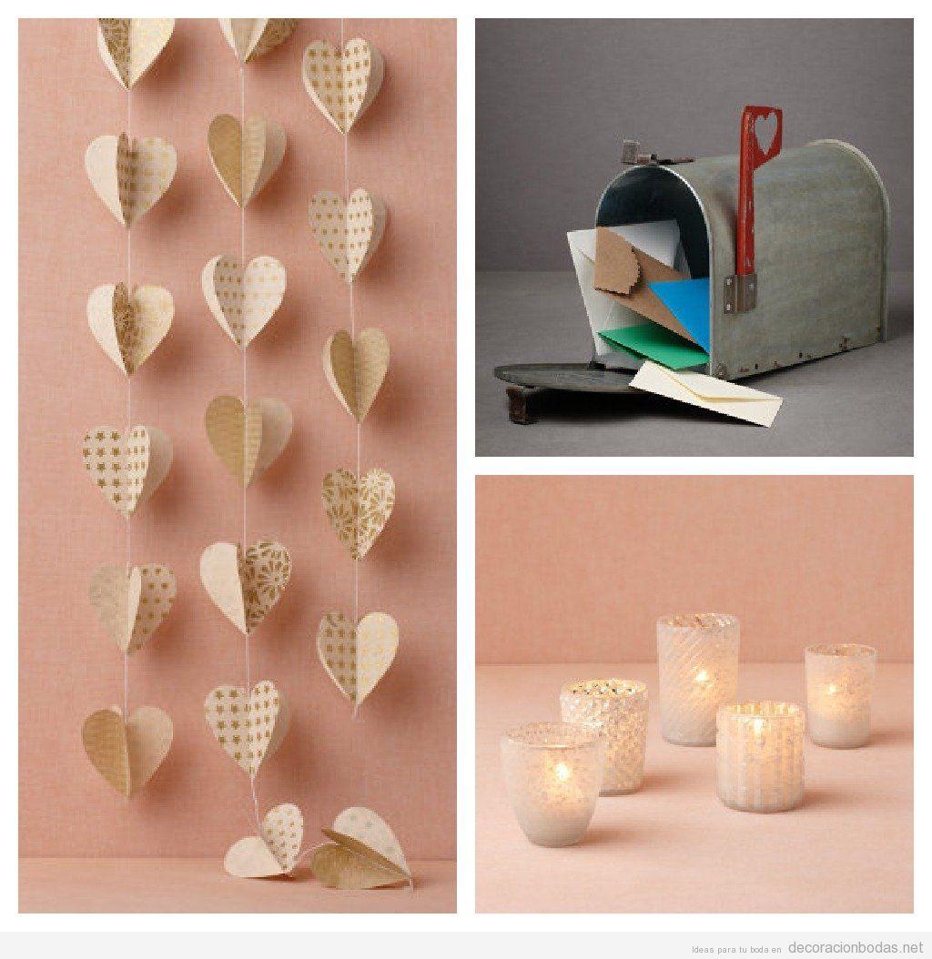 corazones de papel buzones vintage y velas para decorar una boda