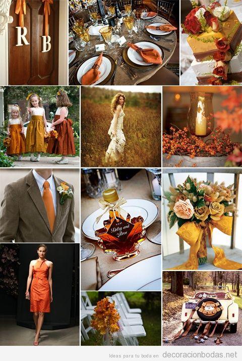 ideas para decorar una boda en tonos naranja en otoo