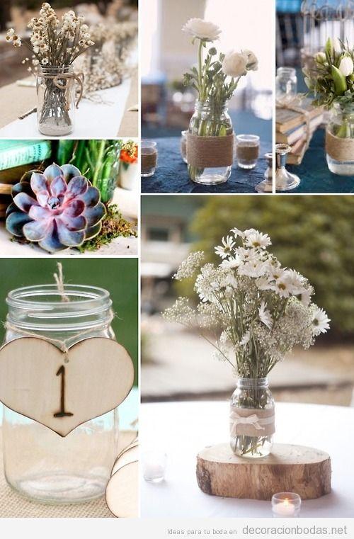 6 ideas para decorar centros de mesa con botes de cristal for Decoracion bodas baratas