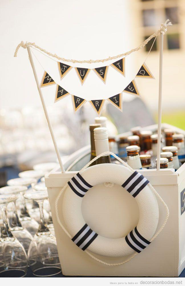 Decoración de boda con motivos marineros