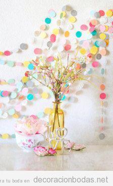 Decoración salón de bodas DIY, guirnaldas de papel