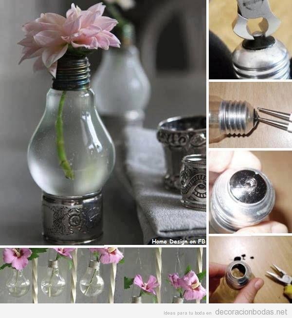 decorar boda barata bombillas antiguas como jarrn de flores