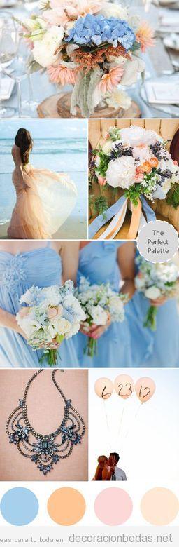 Boda decorada con detalles en colores maquillaje, crema y azul y rosa claro