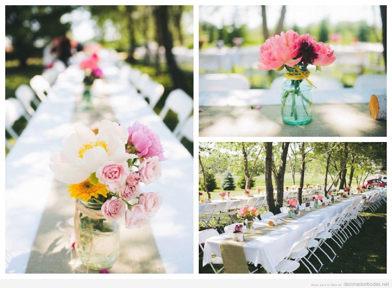 Ideas para decorar centros de mesa en bodas gastando muy for Mesas jardin baratas