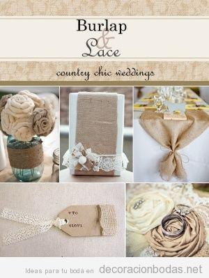 5 ideas para decorar una boda usando yute y encaje