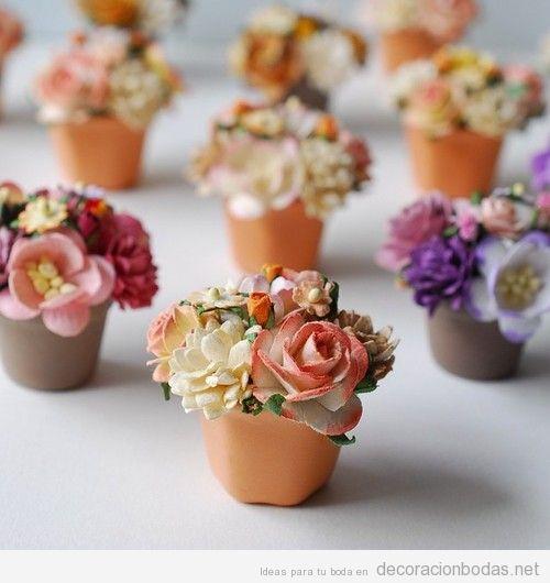 Mini macetas con flores detalle para decorar bodas - Detalles para los invitados de boda ...