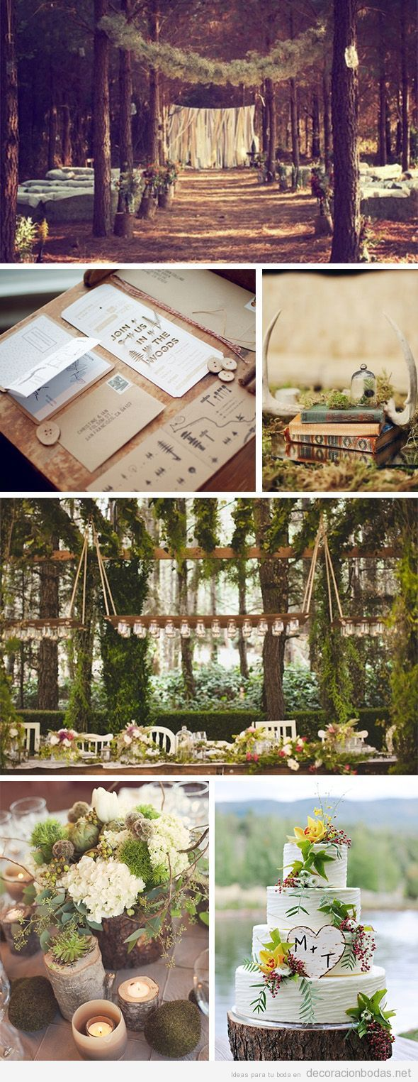 Decoración de una boda de ensueño en el bosque