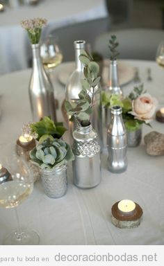 decoracin mesa boda botellas plateadas
