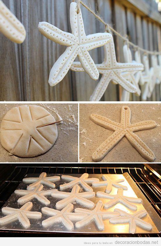 Guirnalda de estrellas de mar hecha con pasta de sal, paso a paso