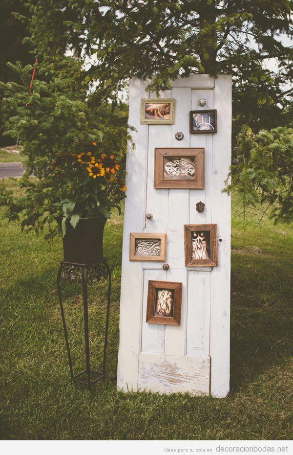 Puerta antigua con fotos bonitas para decorar una boda en for Puertas pintadas originales