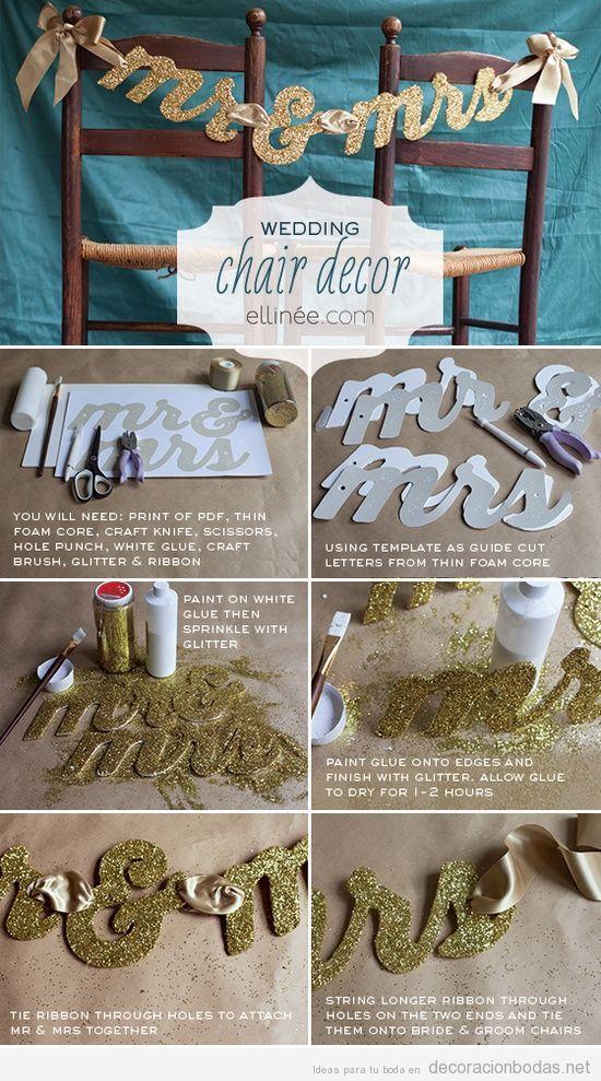 Tutorial para decorar la silla de los novios en una boda con un Sr & Sra