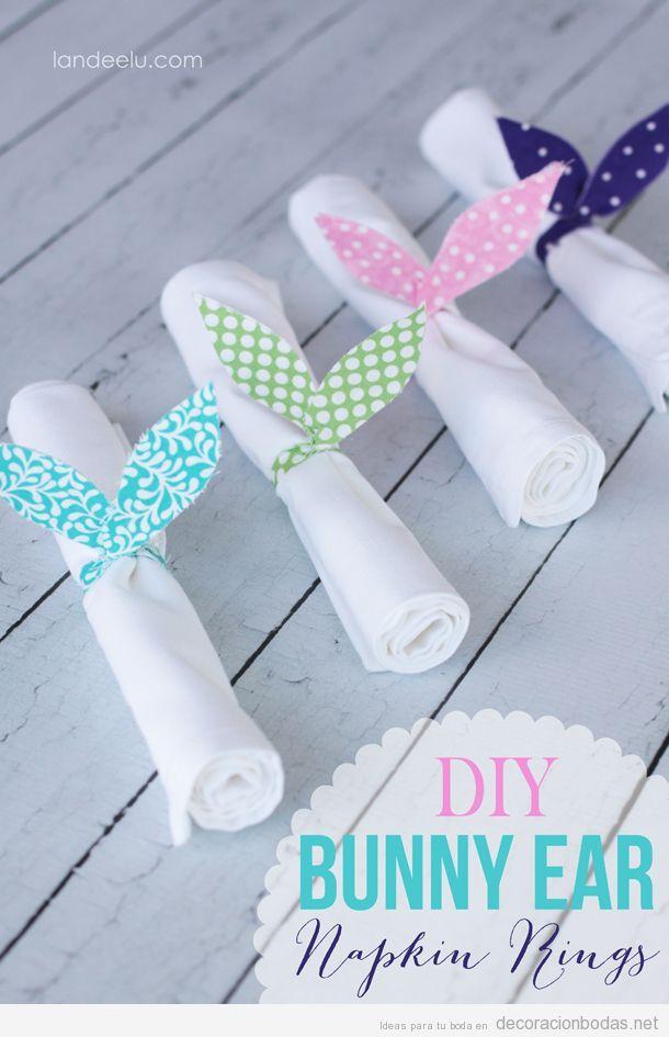 Orejitas de conejo en telas estampadas, anillo para servilletas