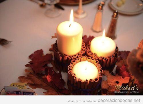 Centro de mesa para boda en otoño, portavelas hecho con barras de canela