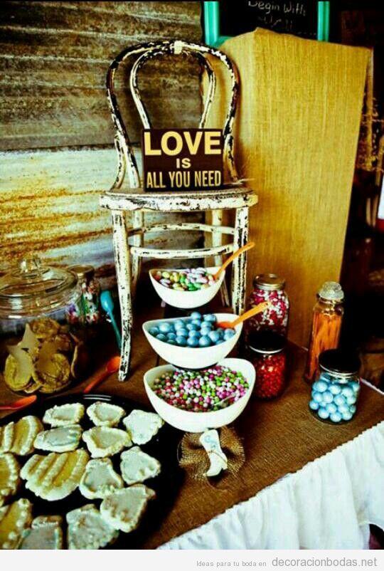 Decorar mesa dulces en una boda estilo vintage