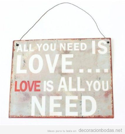 Placa o Cartel All you need is love