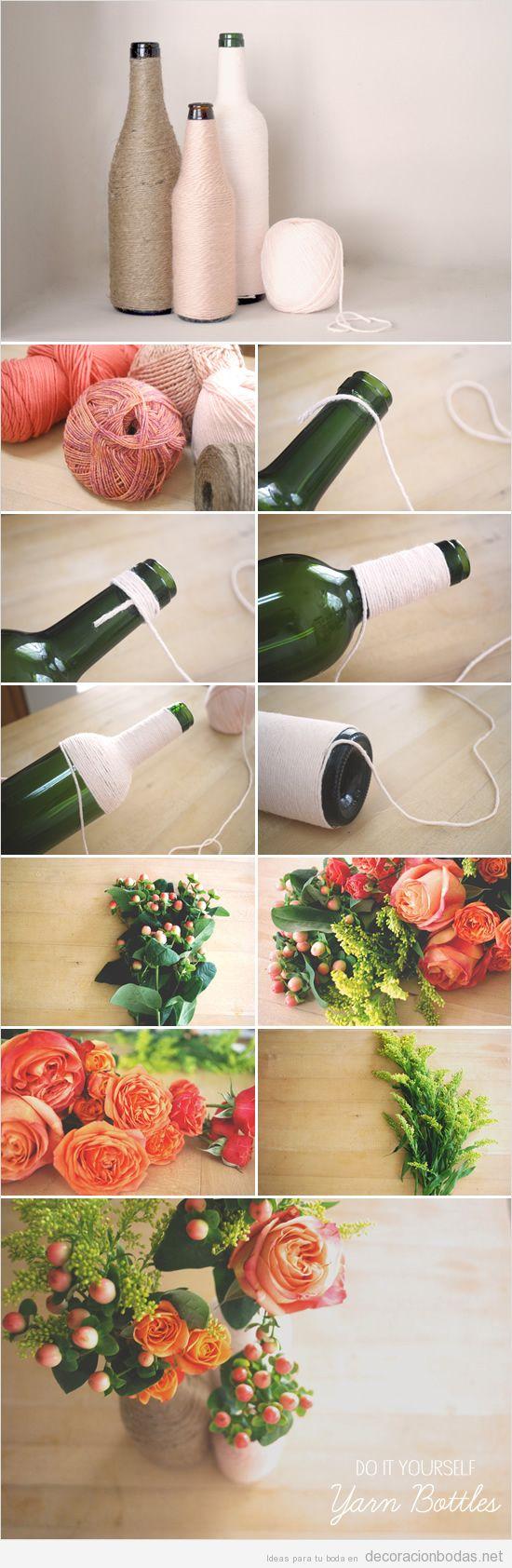 Botellas decoradas con cuerdas de yute o cáñamo, centro de mesa para bodas