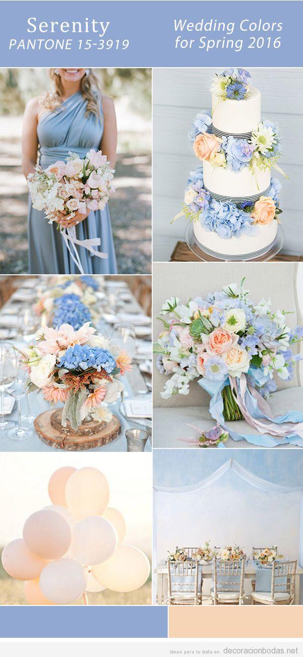 Ideas para decorar tu boda en la primavera de 2016 con un color de moda, azul serenidad