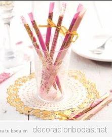 Cómo decorar una mesa de boda con bastoncitos decorados, DIY paso a paso