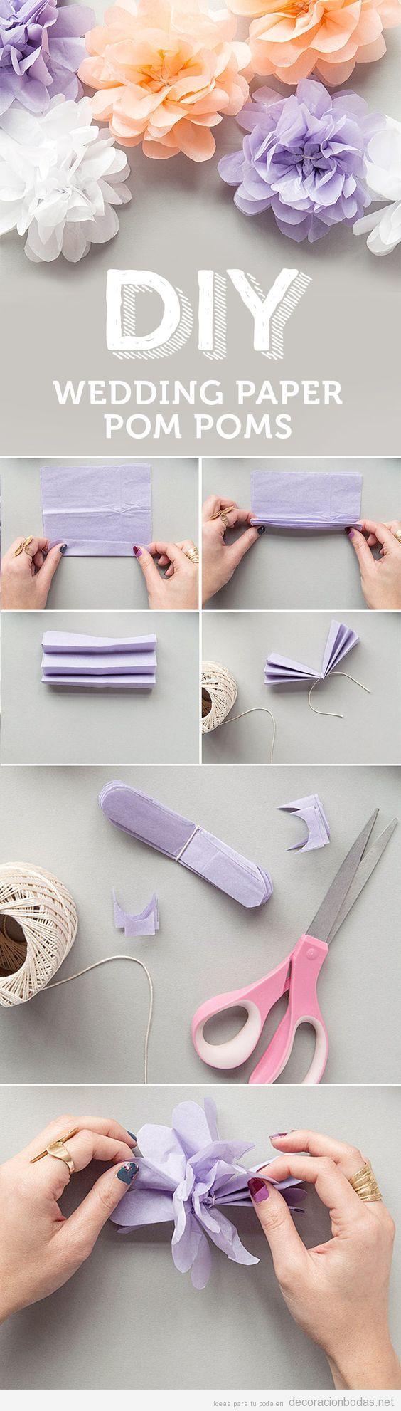 Cómo hacer pompones de papel DIY para decorar boda (Tutorial)