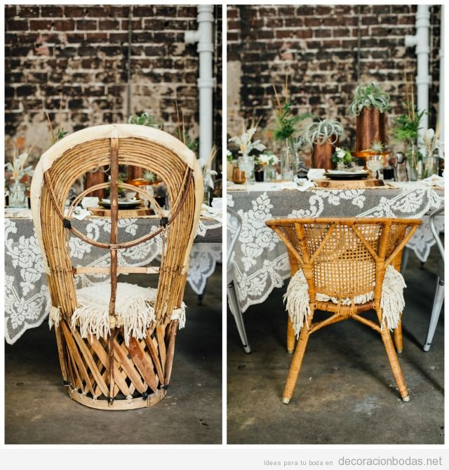 Mesa boda vintage sillas de mimbre