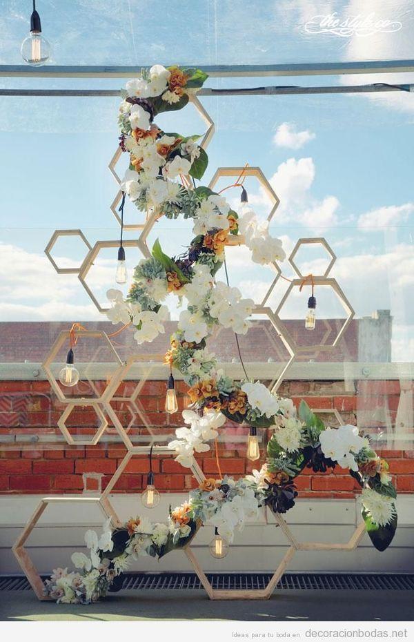 Decoración de bodas con elementos geométricos