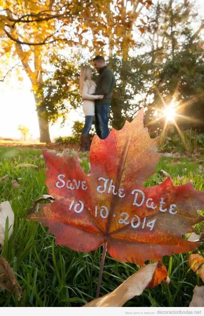 Invitación, altar, mesa y detalles para decorar una boda en otoño