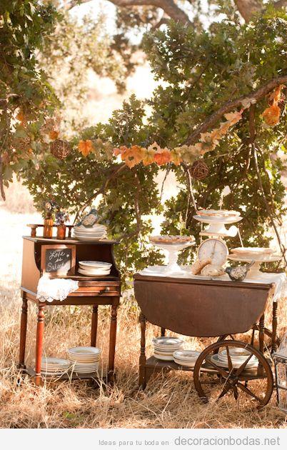 Mesa dulces boda otoño en el exterior