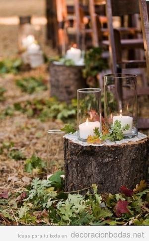 Detalles decoración boda otoño en el exterior 2