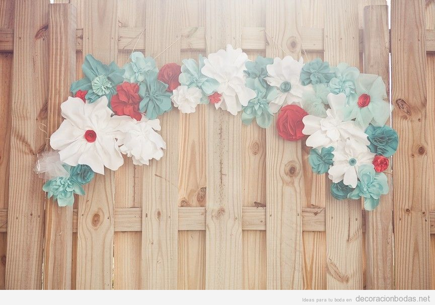 Corona flores papel DIY decorar boda