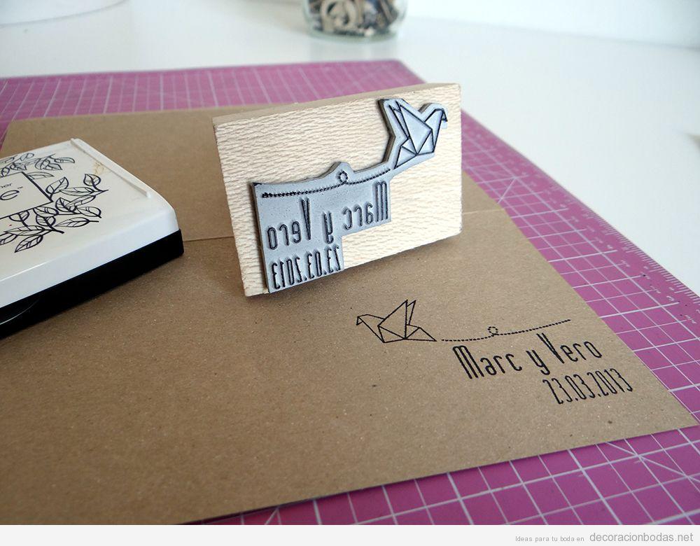 Tutorial invitación bodas DIY sello goma