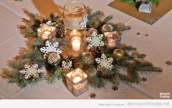 Centro de mesa rústico e invernal para una mesa de boda