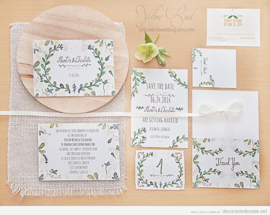 Invitaciones de boda escritas a mano con bonita caligrafía