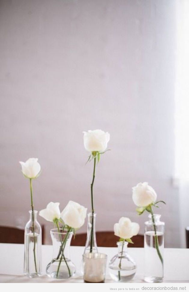 Decoración minimalista centros y mesas de boda 3