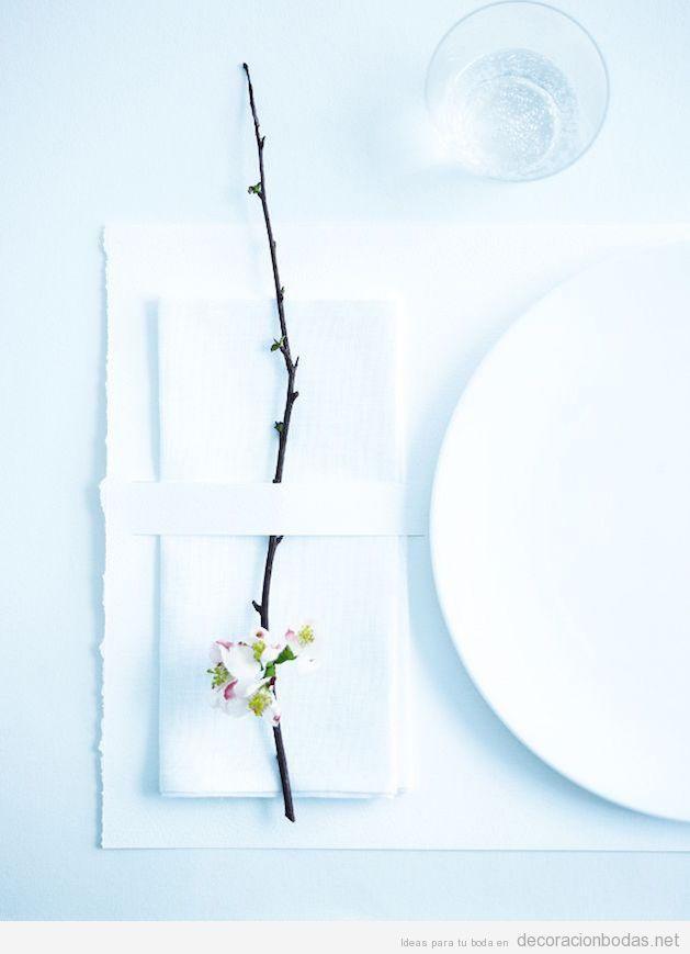 Decoración minimalista centros y mesas de boda 2