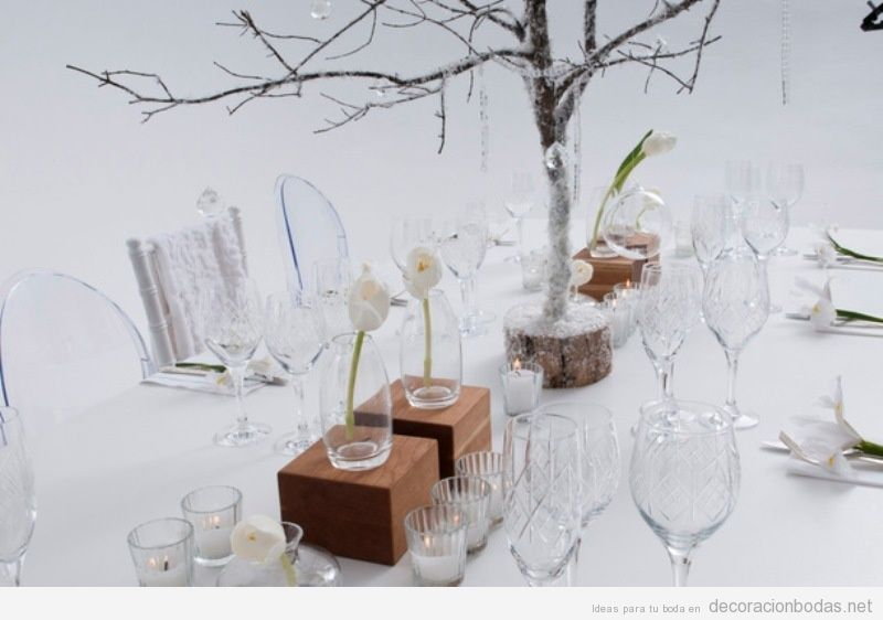 Decoración minimalista centros y mesas de boda