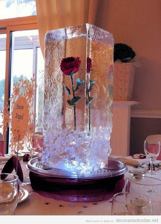 Ideas decorar bodas invierno, figuras de hielo