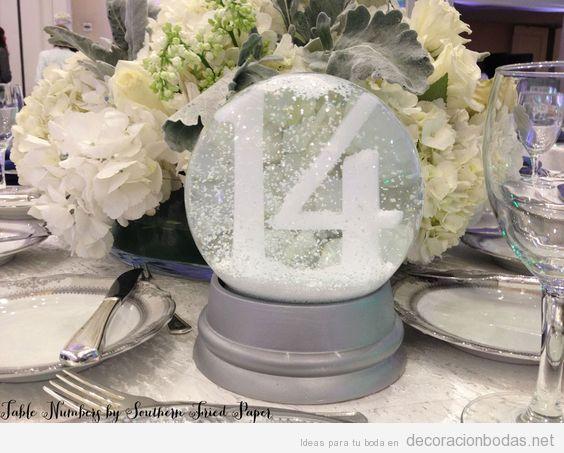 Ideas decorar bodas invierno, bolas de nieve 2