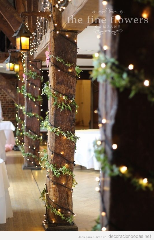 ideas decorar bodas invierno luces y ramas