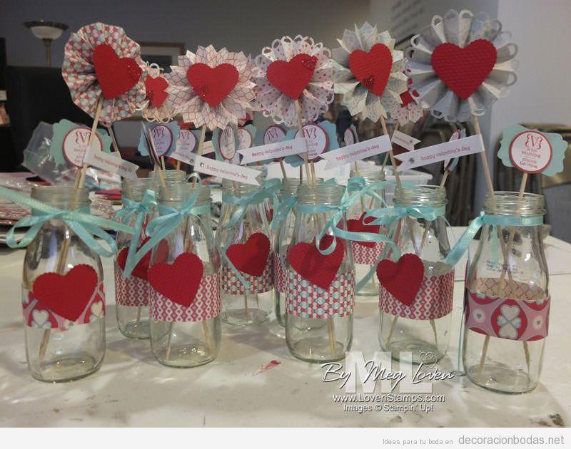 ideas centro mesa boda san valentn con corazones